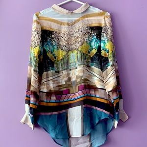 Mary Katrantzou 100% Silk Print Sheer Blouse